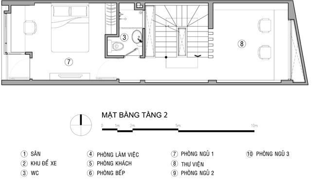 mặt bằng tầng 2 - Thiết kế nhà ống đẹp để ở kết hợp kinh doanh