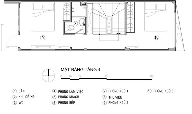 mặt bằng tầng 3- Thiết kế nhà ống đẹp để ở kết hợp kinh doanh