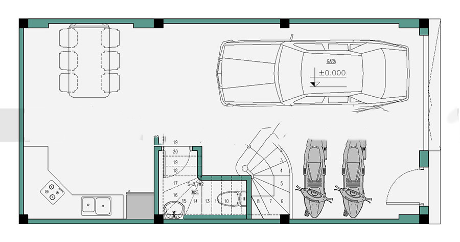 Thiết kế nhà ống hiện đại 4 tầng 50m2. 1