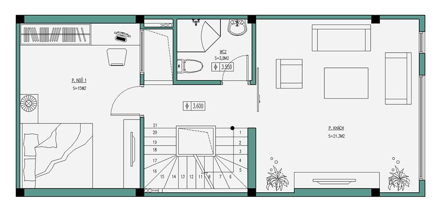 Thiết kế nhà ống hiện đại 4 tầng 50m2. 2