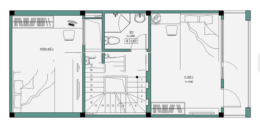 Thiết kế nhà ống hiện đại 4 tầng 50m2. 3