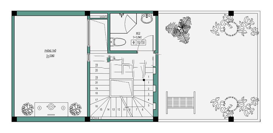 Thiết kế nhà ống hiện đại 4 tầng 50m2. 4