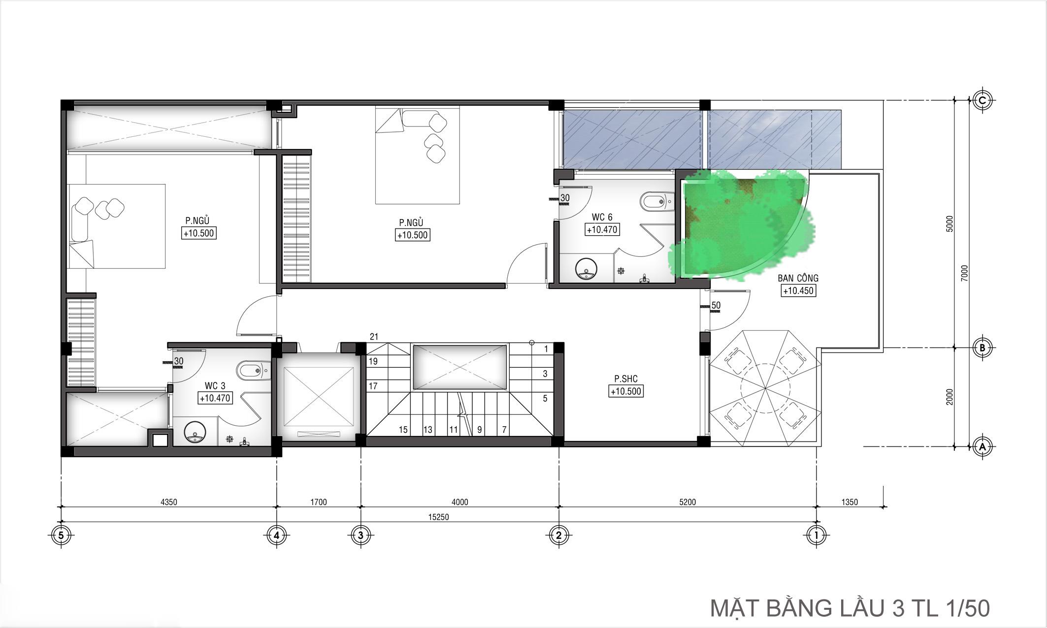 Thiết kế nhà ống hiện đại 3 tầng 7x15m công năng linh hoạt - 5