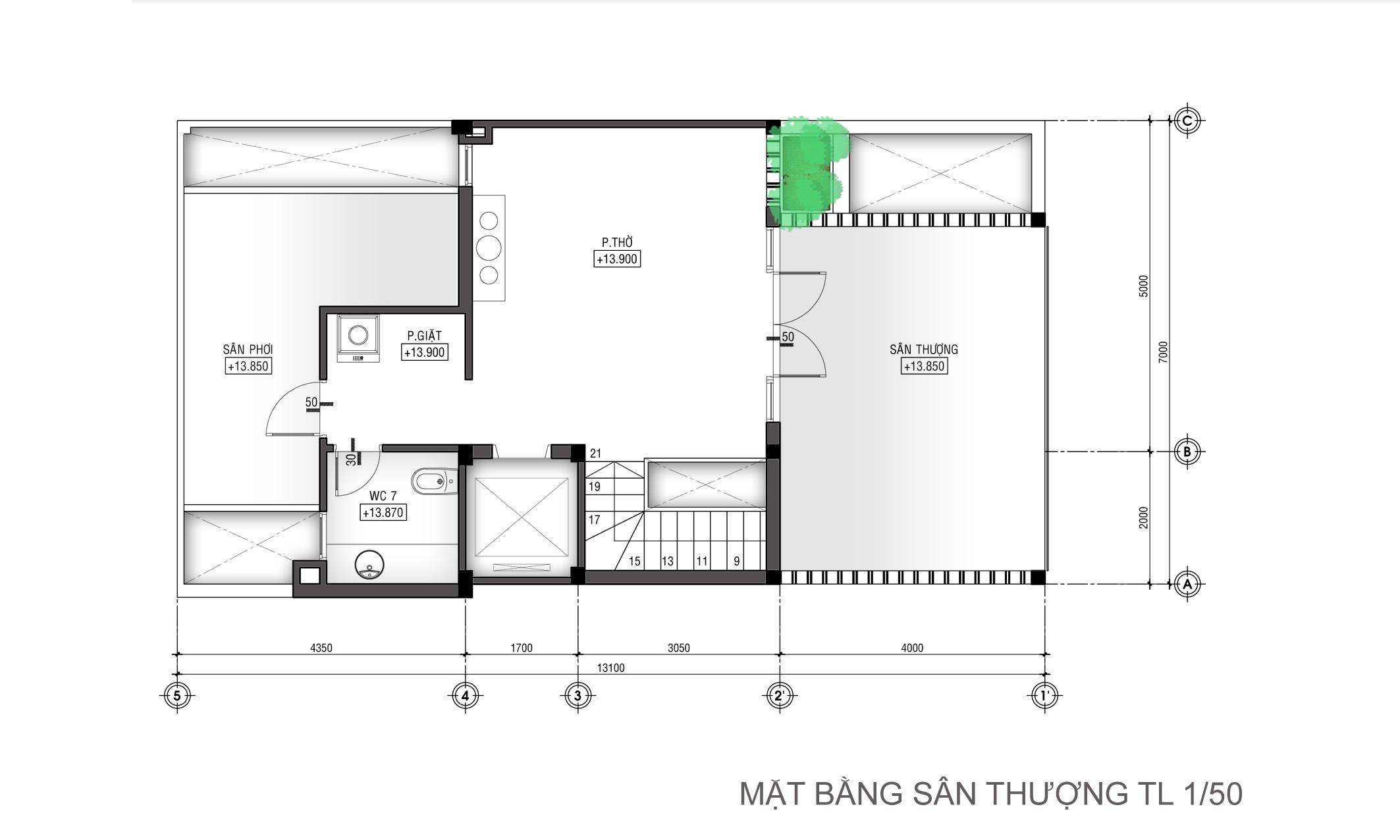 Thiết kế nhà ống hiện đại 3 tầng 7x15m công năng linh hoạt - 6