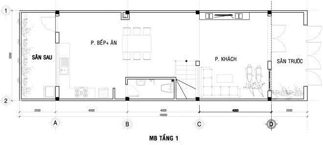 Thiết kế nhà ống lệch 3 tầng bắt mắt. 1