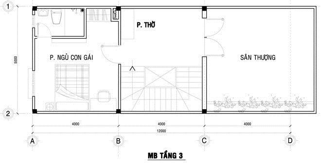 Thiết kế nhà ống lệch 3 tầng bắt mắt. 3