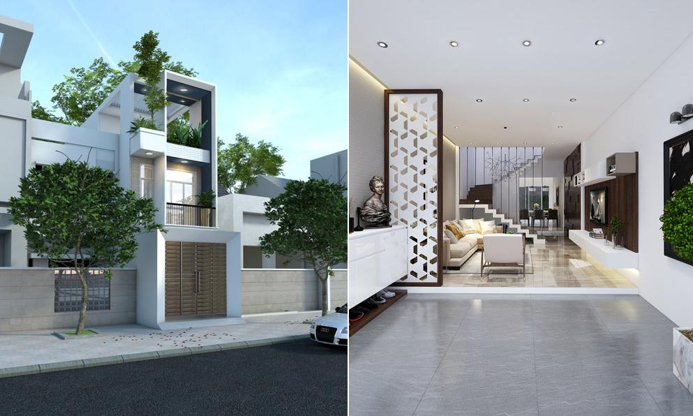 thiết kế nhà phố 3 tầng diện tích 5x20 m đẹp hiện đại