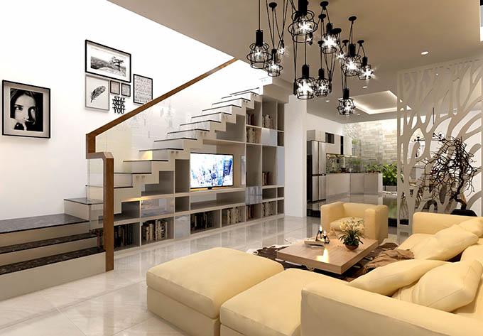 Thiết kế nội thất phòng khách nhà ống nở hậu 3 tầng 4.5x16m phong cách hiện đại