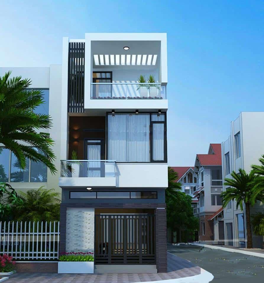 tư vấn thiết kế nhà 3 tầng 4 phòng ngủ 5x20 m ấn tượng